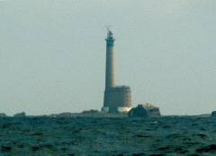 Phare des Roches-Douvres - English: Roches-Douvres Lighthouse, English Channel, Côtes-d'Armor, Brittany, France. A plateau of rocks between France and Guernsey. This is an eerie place, and a local magnetic anomaly can produce strange compass deviations.