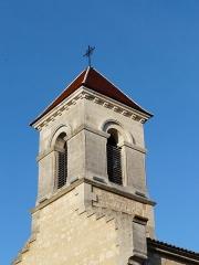 Eglise Saint-Méard - Français:   Le clocher de l\'église Saint-Méard, Saint-Méard-de-Drône, Dordogne, France.