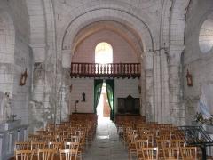 Eglise Saint-Méard - Français:   La nef et la tribune de l\'église Saint-Méard, Saint-Méard-de-Drône, Dordogne, France.