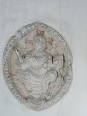 Eglise Saint-Méard - Français:   Bas-relief du XIIe siècle représentant le Christ en majesté, église Saint-Méard, Saint-Méard-de-Drône, Dordogne, France.
