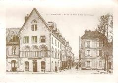 Maisons canoniales - Français:   40. - Bureau de Poste et Rue des Changes, Chartres, Eure-et-Loir (France). Publié par Ch. Foucault, Édit. Dreux.