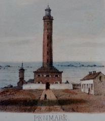 Phares de la pointe de Penmarc'h - Dessin représentant le phare de Penmark [Penmarch] (vers 1897, origine inconnue)