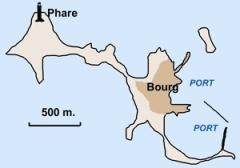 Phare de l'île de Sein -  Plan de l'ile de Sein  Lieu: Ile de Sein, Bretagne, France Author:  Pline photo ou réalisation (schéma) personnelle