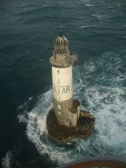 Phare d'Ar-Men - English: Ar Men, a lighthouse at one end of the Chaussée de l'Île de Sein, at the west end of Brittany.