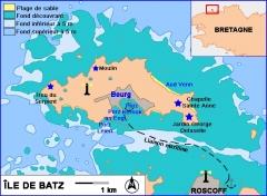 Phare de l'île de Batz -  Description: Carte sommaire de l'île de Batz  Date: 2006 Lieu: Ile de Batz, France Author:  Réalisation  Pline