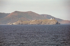 Chapelle de la Trinité - English: small island of Giraglia with lighthouse