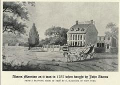 Ensemble constitué de la rampe Saint-Charles, de l'escalier et du jardin Romieu - English: Adams Mansion as it was in 1787 when bought by John Adams