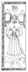 Eglise collégiale et paroissiale Saint-Jean-Baptiste - English: A wax rubbing of a marble slab found in the parish church of Roquemaure, France in 1855. It depicts Jordanus Bricius, a judge and legal scholar, who died in the middle of the 15th century. The Latin text reads:   Hec est sepultura mag[ist]ri militis, utriusq[ue] juris professoris, domini Jordani Bricii, domini castrorum Velaucii et Castrinovi-Rubri, qui fuit judex major Provincie, et fecit edifica...
