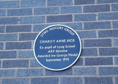 Château de Castagens -  Blue Plaque for Charity Anne Bick, youngest recipient of the George Medal, at Lyng Primary School in West Bromwich, England.