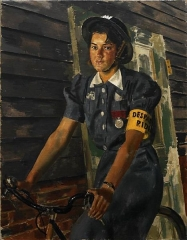 Château de Castagens -  A three-quarter length portrait of Charity Bick in ARP uniform, wearing a helmet, yellow 'dispatch rider' arm band and her George Medal