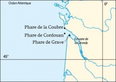 Phare de la Pointe de Grave - English: Map of the 3 lighthouses of the Gironde estuary in France.