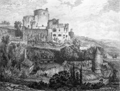 Maison de la cité Frugès - Vue du château de Langoiran depuis le nord ouest