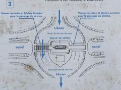 Canal du Midi - Deutsch: Canal du Midi: Kreuzung mit Libron; Schema am Ort für Besucher: 2 wechselnd benutzte Durchlässe