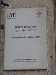 Ancien hostal des Carcassonne ou hôtel de Gayon, actuellement foyer des jeunes travailleurs - Català: Hôtel de Gayon (Montpeller)