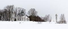 Malouinière de la Ville Azé - Eesti: Nina küla Jumalaema Kaitsmise kirik.1827. Panoraam 6 kaadrist.