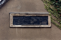 Ancien Jeu de Paume - Français:  Inscription sur le pignon sud de l'ancien jeu de paume, devenu chapelle, rue Saint-Louis à Rennes (France).