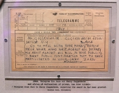 Malouinière Le Grand Val Ernoul - English: Asger Jorn's telegram to Guggenheim.