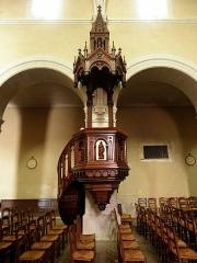 Église Notre-Dame - Français:   Église Notre-Dame d\'Hédé (35). Chaire. 1866. Jean-Julien Herault (Rennes 20/07/1814 - Rennes 26/07/1888) sculpteur.