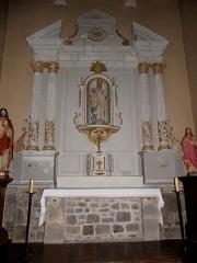 Église Notre-Dame - Français:   Église Notre-Dame d\'Hédé (35). Autel et retable de la Vierge.