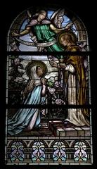 Église Notre-Dame - Français:   Église Notre-Dame d\'Hédé (35). Vitrail. Saint-Jean donnant la communion de la Vierge.