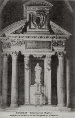 Eglise paroissiale Saint-Laurent - Français:   Retable de l\'autel, chapelle seigneuriale de l\'église de Boussay (37)