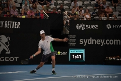 Château d'Hodebert -  Sydney, Australia - 11 January 2019:  Andreas Seppi hitting a forehand in the Sydney International singles semifinal match against Diego Schwartzman on Ken Rosewall Arena at Sydney Olympic Park. (Photo by Rob Keating/robiciatennis.com)