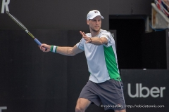 Château d'Hodebert -  Sydney, Australia - 10 January 2019:  Andreas Seppi from Italy during his quarterfinal match against Greek tennis player Stefanos Tsitsipas at the Sydney International tennis  on Ken Rosewall Arena, Sydney Olympic Park. (Photo by Rob Keating/robiciatennis.com)