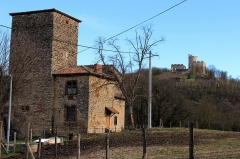 Maison forte des Allinges - Français:   Maison forte des Allinges avec en arrière plan le château de Fallavier.