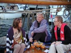 """Théâtre -  NRK """"Sommeråpent"""" ombord på RS 5 """"Liv"""" 5. juli 2002. På bildet fra høyre Olav Viksmo Slettan og Finn Kalvik"""