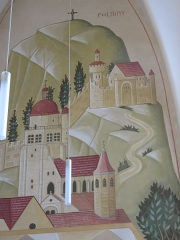 Monastère des Clarisses - Français:   Château de Poligny (Jura), détail de fresque de l\'église du monastère des Clarisses de Poligny