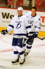 Couvent des Capucins, puis hôpital - English: B. J. Crombeen (front) and Keith Aulie (back) with the Tampa Bay Lightning during warm-up before a gamve vs. the Blackhawks at the United Center in Chicago