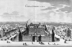 Ensemble immobilier du château du Verger - Deutsch: Kupferstich des Schloses Le Verger in Seiches-sur-le-Loir, Maine-et-Loire