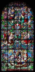 Eglise Notre-Dame du Voeu, à Octeville - English: Stained glass window in the north transept, created 1857 by the stained glass workshop of Adolphe Napoléon Didron. The artwork is titled Espérance (hope) and depicts the voyage of Matilda in 1145 from England to Normandy where, according to the legend of Chantereyne, Matilda, in the midst of a tempest that threatened the ship, promised to the Virgin Mary to build a chapel on the spot where she sets foot again on land. Not just a chapel was built but also Abbaye Notre-Dame du Vœu in Cherbourg was founded. (See Martine Callias Bey and Véronique David, Les vitraux de Basse-Normandie, ISBN 2-7535-0337-0, p. 61.)