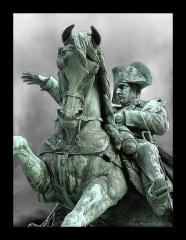 Statue de Napoléon Ier, à Octeville - English: Armand Le Véel (French, 1821-1905): Napoleon Ier, 1858, equestrian statue, Cherbourg, Manche, France.