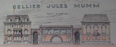 Cellier d'expédition -  Vue d'architecte du projet du Cellier d'expédition Jules Mumm avec les batiments qui l'encadrent, la réalisation sera différente.