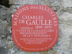 Maison dite la Boisserie - Français:   Panneau d\'entrée de La Boisserie, à Colombey-les-Deux-Églises