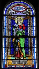 Eglise Saint-Martin - Français:   Vitrail de l\'église Saint-Martin de Châtillon-sur-Colmont (53). Saint-Pierre. Costale sud de la nef.