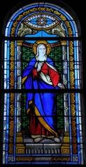 Eglise Saint-Martin - Français:   Vitrail de l\'église Saint-Martin de Châtillon-sur-Colmont (53). Sacré-Cœur. Costale nord de la nef.