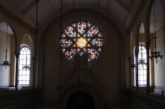Synagogue - Deutsch:   Synagoge in Toul im Département Meurthe-et-Moselle (Lothringen/Frankreich), Innenraum, Rosette