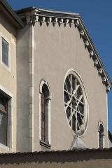Synagogue - Deutsch:   Synagoge in Toul im Département Meurthe-et-Moselle (Lothringen/Frankreich), Fassade mit Rosette