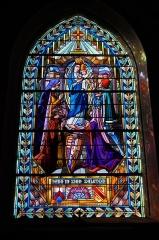 Eglise paroissiale de la Nativité de la Vierge dite Basilique Notre-Dame-de-Sion et ancien couvent des Tiercelins de Sion - Français:   Vitrail de l\'église d\'Haroué, par Joseph Benoît (1871-1939); à l\'arrière-plan, on distingue au loin la basilique Notre-Dame de Sion.