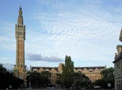 Hôtel de ville -  Vue depuis la porte de Paris de l'Hotel de ville de Lille (Nord).
