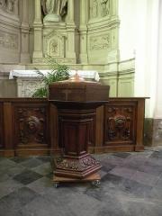 Eglise Notre-Dame du Tilleul ou église de Sous-le-Bois - Français:   Église Notre-Dame-du-Tilleul de Maubeuge fonds baptismaux