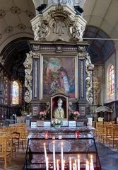 Eglise Saint-Martin - Français:   Retable latéral droit de l\'église Saint-Martin d\'Arnèke, autel de St Ghoaert.