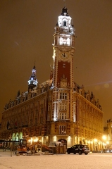 Chambre de Commerce et d'Industrie - English: Chamber of commerce and industry in Lille during a snowy night
