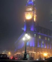 Chambre de Commerce et d'Industrie -  Beffroi de la chambre régionale de commerce et d'industrie, de nuit, en 2006  (à Lille, Nord de la France).