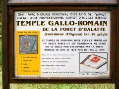 Temple gallo-romain de la forêt d'Halatte - Français:   Tableau explicatif conçu par les élèves du lycée professionnel Aymot d\'Inville de Senlis avec le concours de l\'ONF.