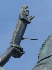 Statue de Neptune, située dans le jardin de l'Hôtel de Ville - Français:   détail de la statue de Neptune