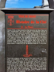 Phare de Calais - English: Sign at lighthouse of calais