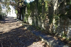 Cimetière juif de Bayonne - English:  Series of tombs that line the driveway of the square of the 18th century. Inventoried and placed along the wall, they are recognized by the inventory number added.